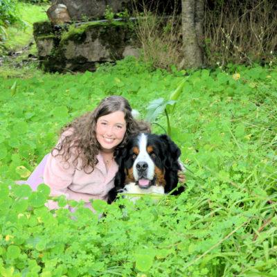 fotografia profissional de cão weimaraner com a dona deitado no parque