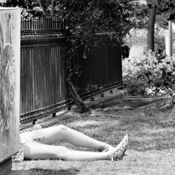 jardim com árvores e plantas onde se vêem as pernas de uma mulher deitada na relva